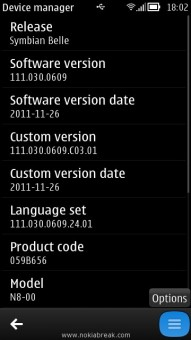 Nokia Device Manager Options