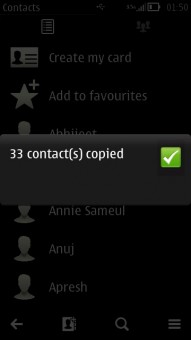 Contacts Copied
