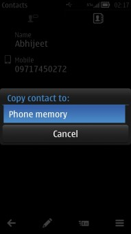 Contacts to Phone Memory