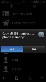 Copy All SIM to Phone memory