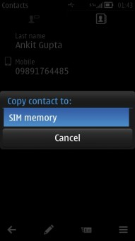 Copy Contacts to SIM Memory