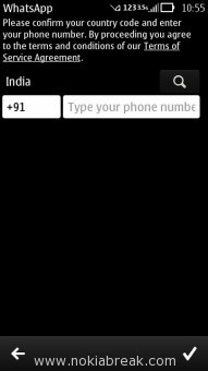 WhatsApp Messenger Confirm Phone Number